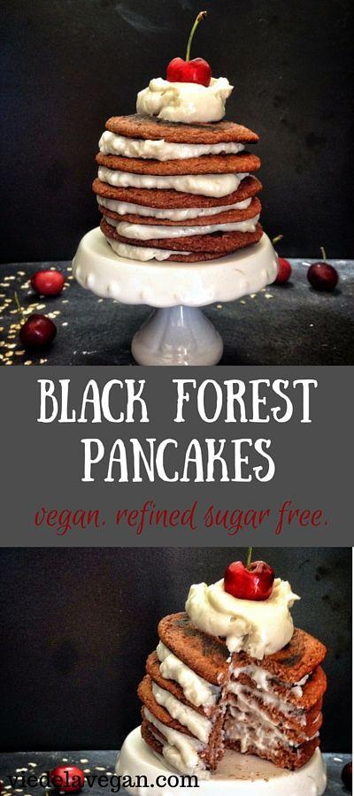 Black Forest Pancakes [Vegan, Refined Sugar Free]