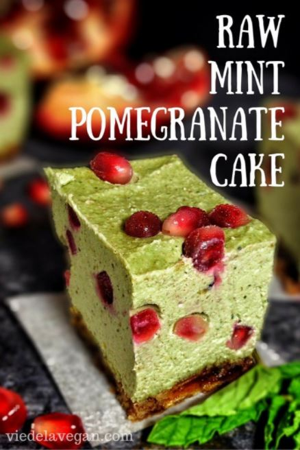 Mint Pomegranate Raw Cake