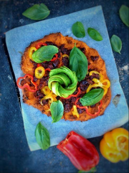 Sweet Potato Lentil Flour Pizza Crust