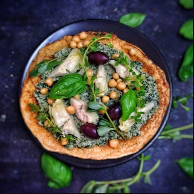 Chickpea Pizza With Herb Pesto