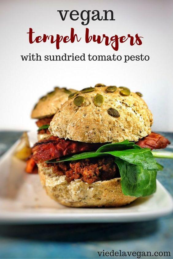 Tempeh Burger with Sundried Tomato Pesto