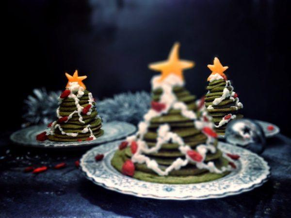 Christmas Tree Pancake Stack [Vegan, No Added Sugar]