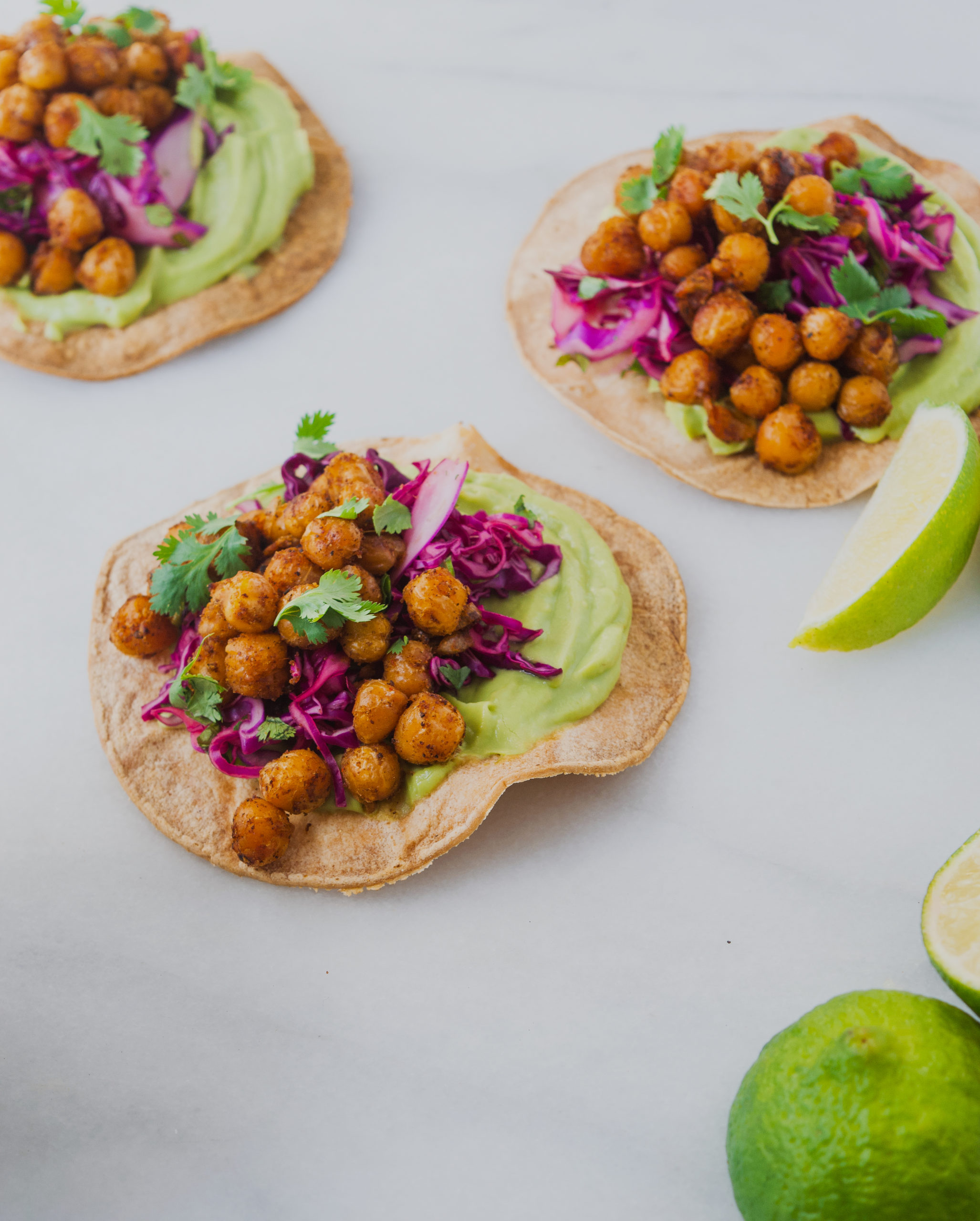 vegan chickpea tostadas with avocado cream