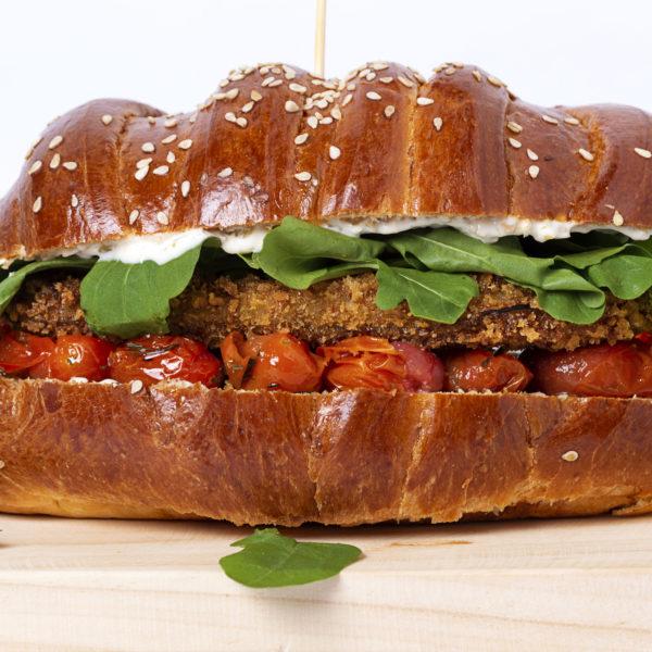 Eggplant Parmesan Sandwich with Arugula