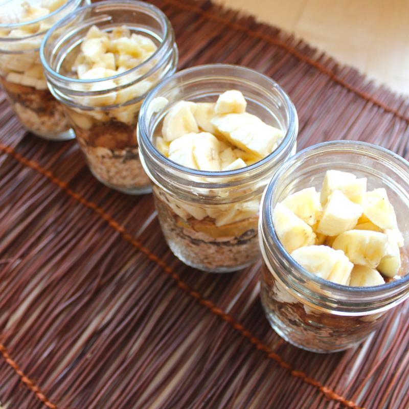 Shake  and Go Peanut Butter Banana Overnight Oats