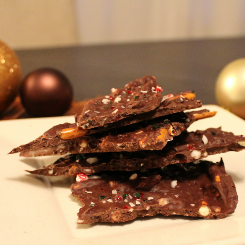 Chocolate Candy Cane Pretzel Bark