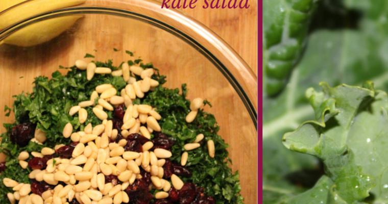 Cranberry-Lemon Kale Salad With Pinenuts