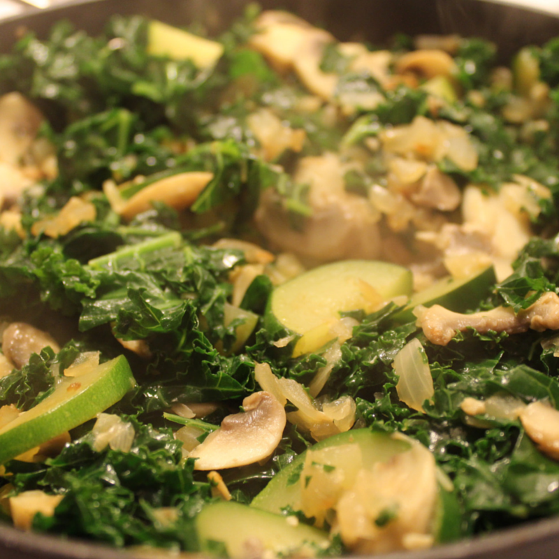 Creamy Mushroom Kale and Chickpeas