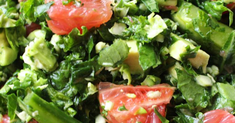 Grapefruit and Avocado Kale Salad With Oil-Free Dijon Dressing