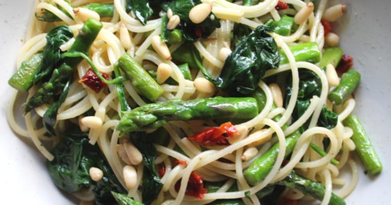 Lemon Spinach and Asparagus Spaghettini